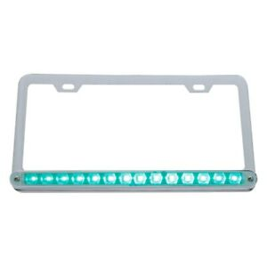 Chrome License Plate Frame W 14 Green Led 12 Light Bar Clear Lens