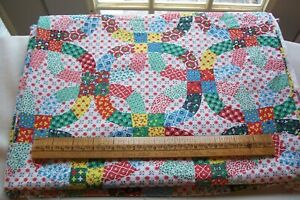 Genuine Vtg 1940 S 1950 S Cotton Cheater Fabric Quilt Back