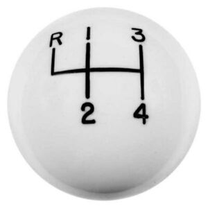 Hurst Shifters 1630002 Manual Round Style 4 speed Pattern White Shift Knob
