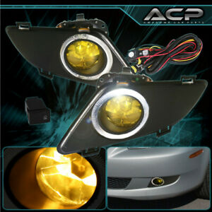 For 2003 2004 2005 Mazda 6 Chrome Yellow Fog Light Halo Lamp Button Hardware