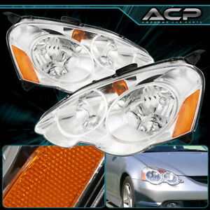 For 2002 2004 Acura Rsx Style Chrome Housing Amber Corner Clear Set Head Lamps