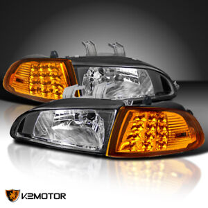 For 92 95 Honda Civic 2dr 3dr Eg Eh Ej Black Headlights led Corner Lights 4pc