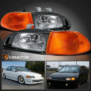Fits 92 95 Honda Civic Eg Eh Ej 4dr Sedan Black Headlights corner Lamps 4pc