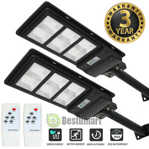 2Pack Outdoor Commercial LED Solar Street Light Radar Induction+Remote  $73.81