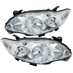 Factory Style Replacement Chrome Headlights Headlamps Lh Rh For 11 12 13 Corolla