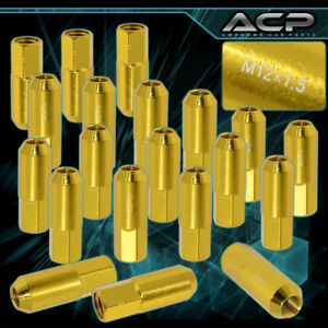 20 Pc 60mm M12 X 1 50 Gold Extended Heavy Duty Racing Track Lug Nuts Racing Vip