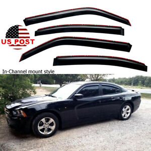 For 2006 2010 Dodge Charger In Channel Smoke Window Visor Vent Shade Rain Guard