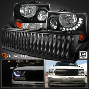 99 02 Chevy Silverado 1500 2500 Led Black Headlights Bumper Lamp Grille Set