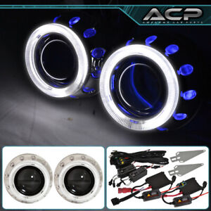 2x Universal Retrofit Projector Lens Headlights 2 5 H1 Hid Dual Halo Rings