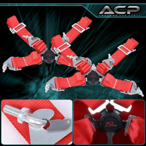 2x Red 4 Point 2 Cam Center Lock Quick Release Nylon Seat Belt Harness Safety