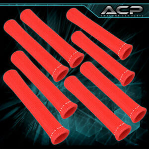 For Chevy 8x 1200 Thermal Spark Plug Wire Heat Shield Sleeve Track Set Red