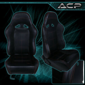 Black Leather Racing Seat W Red Stitching Fiberglass Reclinable Sliders