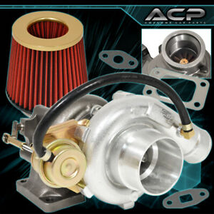 T3 T4 Turbo Turbocharger Flanges V band Outlet High Flow Air Filter Gold Red