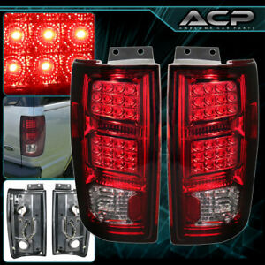 Chrome Housing Smoke Red Lens Led Tail Lights Lamps For 97 02 Ford Expedition