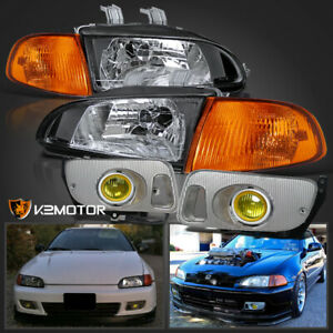 For 92 95 Honda Civic Eg Eh 2dr 3dr Jdm Black Headlights corner yellow Fog Light