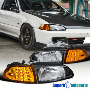 For 92 95 Honda Civic 2dr 3dr Eg Eh Ej Led Signal Corner Lamps headlights Black
