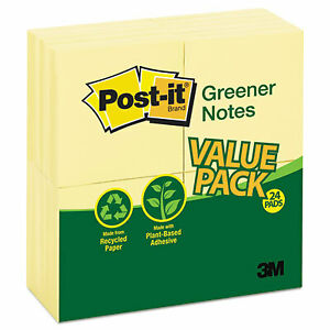 Recycled Note Pads 3 X 3 Canary Yellow 100 sheet 24 pack 654rp 24 yw