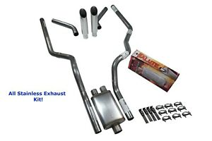 All Stainless Dual Exhaust Ford F 150 87 97 Cherry Bomb Salute Corner S Tip