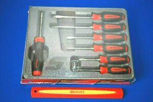 New Snap On 7 Pc Red Instinct Standard Ratcheting Screwdriver Set Sgdx60ratr
