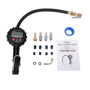 Electric Digital Tire Inflator With Pressure Gauge 250 Psi Air Chuck And Compres