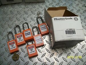 Box Of 6 Master Lock Orange Lockout Padlock Alike Key Thermoplastic Body