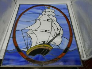 Nautical Clipper Ship Boat Vintage Stained Glass Window Panel Approx 21x26