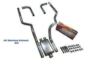 All Stainless Dual Exhaust Ford F 150 87 97 Cherry Bomb Salute Side Exit