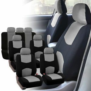 Seat Covers For 3row 7 Seaters Suv Van Universal Fitment Gray Black
