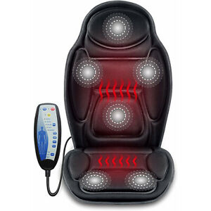 Massage Car Seat Cushion Back Support Massager Vibrating Heating Pad Cover Black