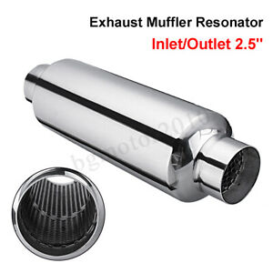 2 5 In Out Universal Stainless Steel Car Exhaust Turbine Muffler Resonator