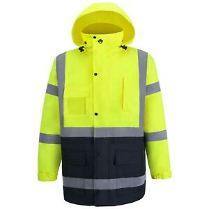 Hi Viz Rain Jacket Lime blue Reflective Ansi Class 3 Safety Jacket