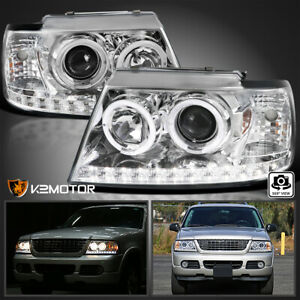 Fits 2002 2005 Ford Explorer Led Drl Halo Projector Headlights Lamps Left Right