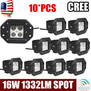 10x 5 16w Square Led Work Light Flood Offroad Driving Flush Mount Fog For Atv