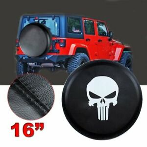 16 Skull Car Spare Tire Tyre Wheel Cover Case For Jeep Liberty Wrangler Black