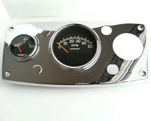 Vintage Gauge Panel Chrome 3 3 4 Ac 0 50 Rpm Tachometer 2 1 4 Temp 12v
