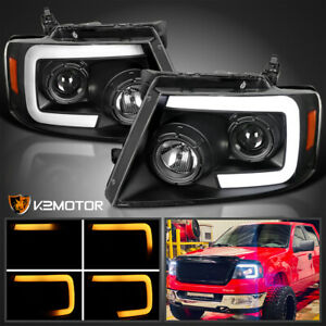 For 2004 2008 Ford F150 Led Drl Bar Sequential Signal Projector Headlights Black