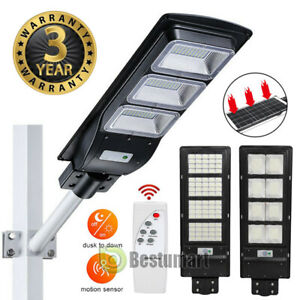 99000LM LED Solar Street Light Outdoor Commercial IP67 Dusk to Dawn Road Lamp A+ $73.81