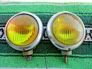 Pair 40s 50s Kaiser Frazer Kf Unity Model H 1 Yellow Fog Light 5 Hot Rat Rod