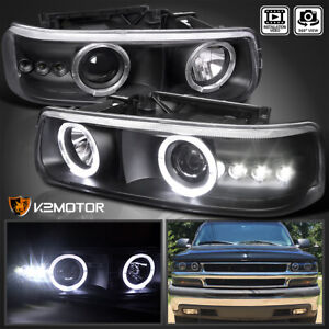 For 1999 2002 Chevy Silverado Tahoe Black Led Halo Projector Headlights Lamps
