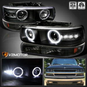 For 1999 2002 Silverado 2000 2006 Tahoe Black Led Projector Head Lights bumper