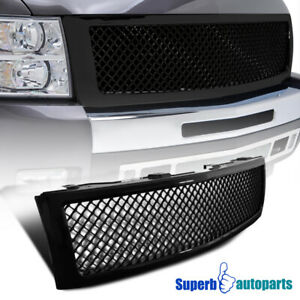 For 2007 2013 Silverado 1500 Mesh Glossy Black Front Honeycomb Hood Grille 1pc