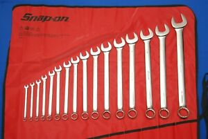 New Snap on 16 Pc 12 point Sae Combination Wrench Set Oex714kb Oex10b Oex11b