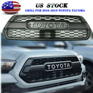 New Front Bumper Hood Grille Matte Black Grill For 2016 2019 Tacoma Trd