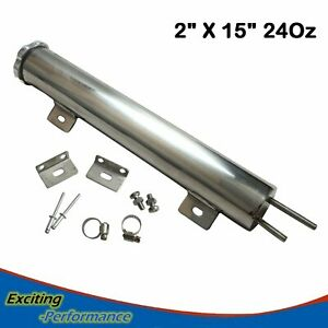 2 X 15 24oz Radiator Coolant Overflow Puke Tank Can Polished Stainless Steel