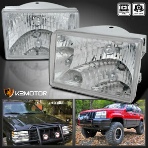 For 93 98 Jeep Grand Cherokee Clear Headlights Lamps Left Right Replacement Pair