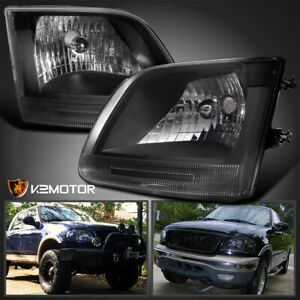 For Ford 1997 2003 F150 Expedition Pickup Headlights Black Head Lamps Left right