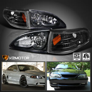 Fits 1994 1998 Ford Mustang Cobra Black Headlights corner Signal Lights Lamps