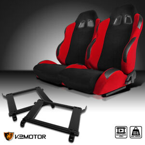 90 93 Acura Integra Jdm Red Cloth Pvc Leather Racing Seats mounting Brackets 2pc