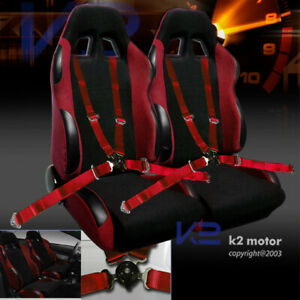 2x Jdm Bride Style Racing Seats With 4 Point Camlock Racing Harness