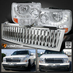 99 02 Chevy Silverado 1500 2500 3500 Led Chrome Headlights bumper Lamp grille